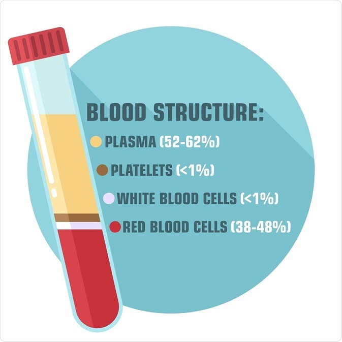 Human blood comprises blood plasma, platelets, white blood cells and red blood cells.